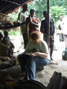 Keeping my paper journal in a small village on the Itimbiri River, DRCongo